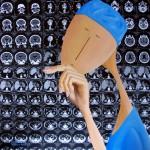 Radiologue, 2013, Huile, collage papier et résine sur toile (60x60cm)