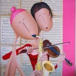 Deux musiciens, 2013, Huile sur toile et collage papier (92x65cm)