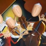 Le Quatuor, 2014, Huile sur toile et collage papier (81x116 cm)