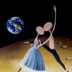Danseurs sur la Lune, 2013, Huile sur toile (65x54cm)