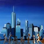 Skyline (Large blue and silver), 2016, Huile et résine sur toile (65x92cm)