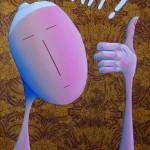 Yeah ! 2016, Huile sur toile et collage papier (46x33cm)