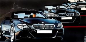 3 BMW, 2017, Huile et acrylique sur toile (60x120cm)