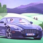 Aston Martin Vantage Corse, 2019, Huile sur toile (73 x 100 cm)