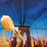 Pont de Brooklyn - Selfie, 2015, Huile sur toile (25x25cm)