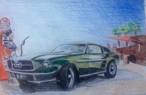 Ford Mustang - Bullit (Croquis préparatoire 2)