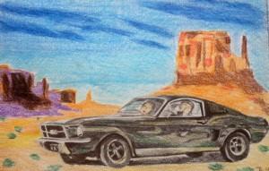 Ford Mustang - Bullit (Croquis préparatoire 1)
