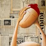 Actualités ! 2016, Huile sur toile et collage papier (46x38cm)