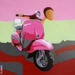La vie en rose, 2017, Huile et acrylique sur toile (50x50 cm)