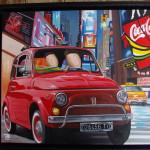 Fiat 500 in NY, 2019, Huile sur toile (33 x 41 cm)