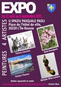 Affiche exposition L'Île-Rousse 21 août au 3 septembre 2021
